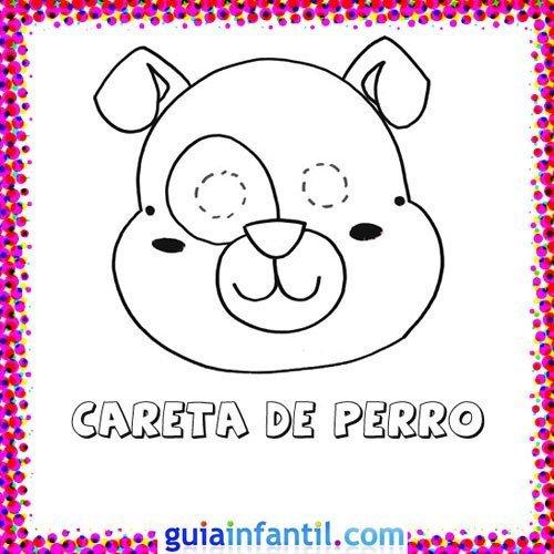 Careta de perro. Dibujos de Carnaval para niños