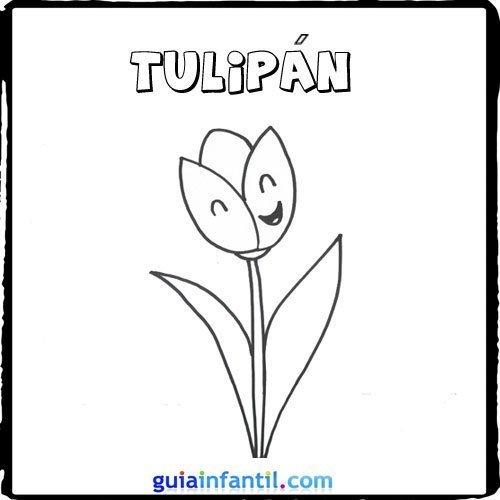 Dibujo de Tulipa infantil para Colorear Dibujos de Flores para