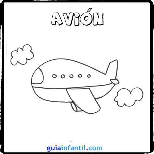 Dibujo de un avión para pintar con los niños