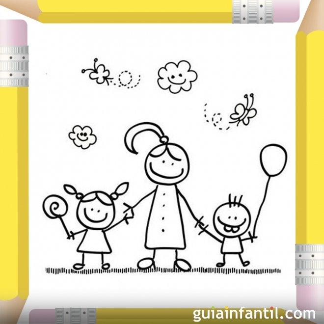 Niños con su mamá. Dibujos para colorear el Día de la Madre