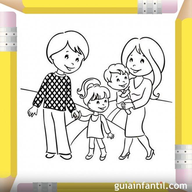 Papás con sus hijos. Dibujos para pintar el Día de la Madre