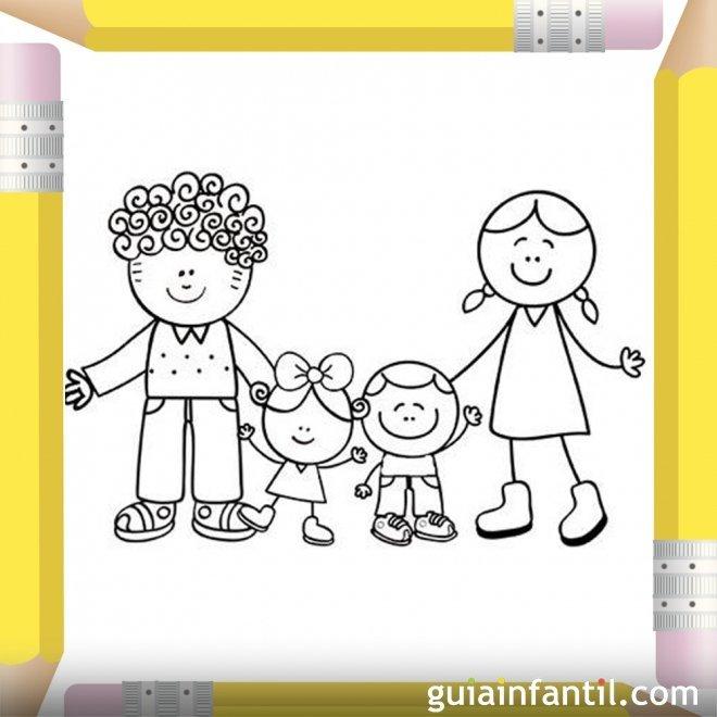 Padres con sus hijos. Dibujos para colorear el Día de la Madre