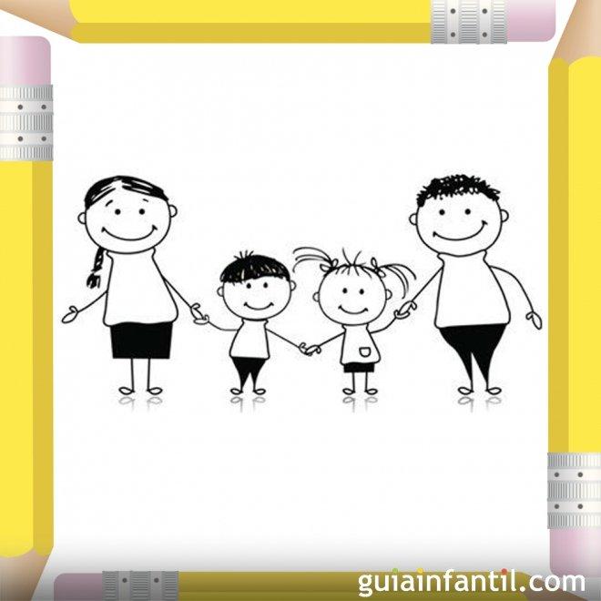 Niños con sus papás. Dibujos para pintar el Día de la Madre
