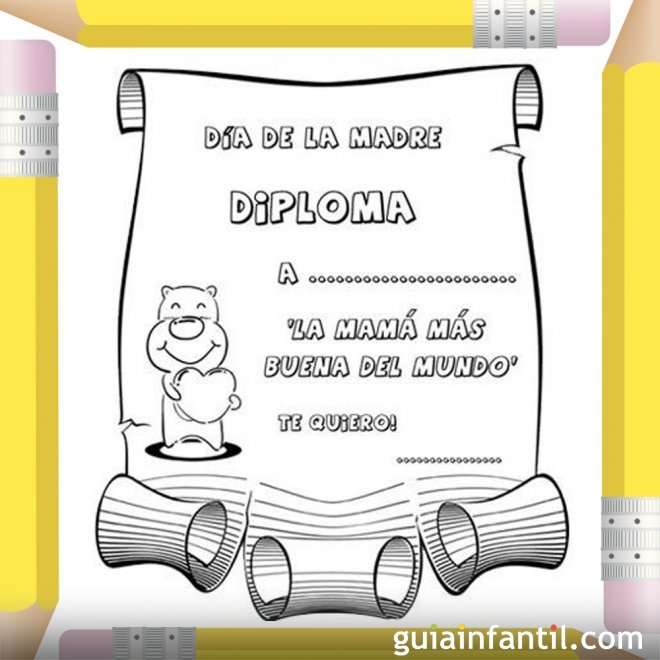 Diploma a la madre más buena. Dibujos para colorear