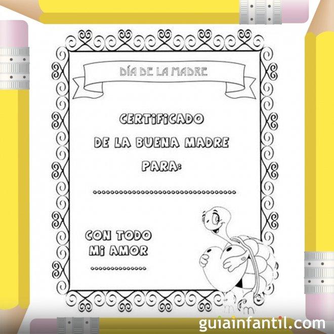 Diploma Día de la Madre. Dibujos para colorear