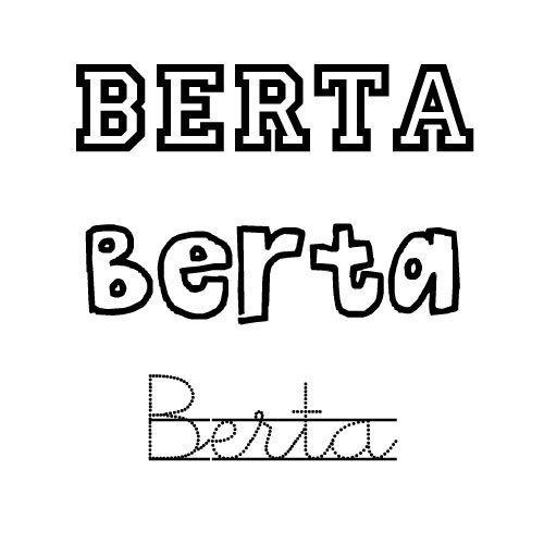 Nombre para niñas Berta. Dibujos para colorear