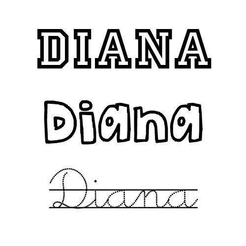 Dibujo del nombre para niñas Diana para colorear