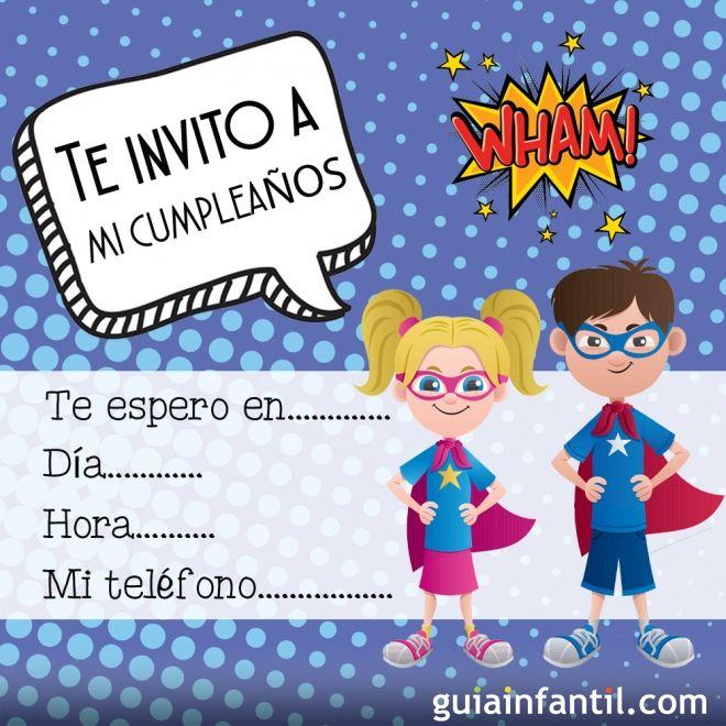 Invitaciones infantiles para cumpleaños con dibujos de cómics de ...