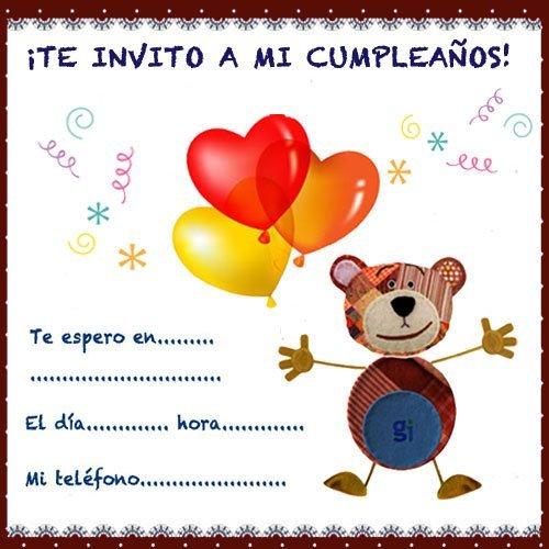 Invitación de cumpleaños del Oso Traposo con globos