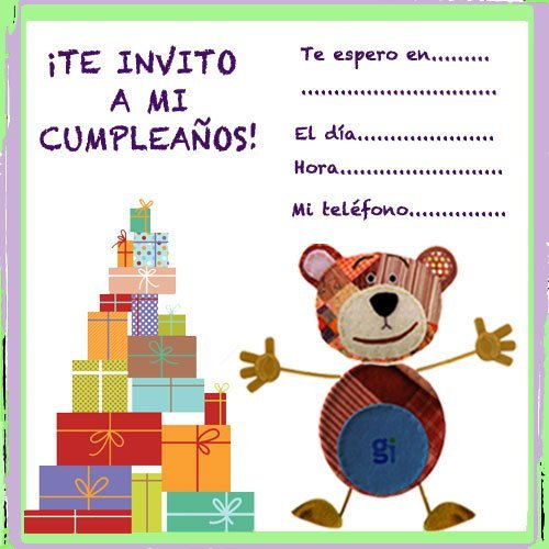 Invitaciones de cumpleaños con el Oso Traposo para niños