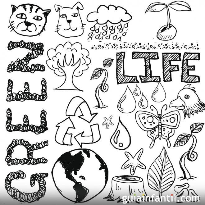 Dibujos para colorear con los niños sobre la naturaleza