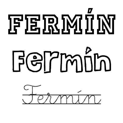 Dibujo del nombre para niños Fermín para colorear