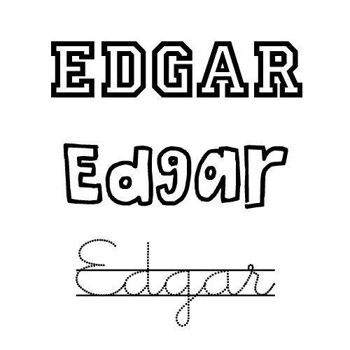 Dibujo del nombre Edgar para imprimir y pintar