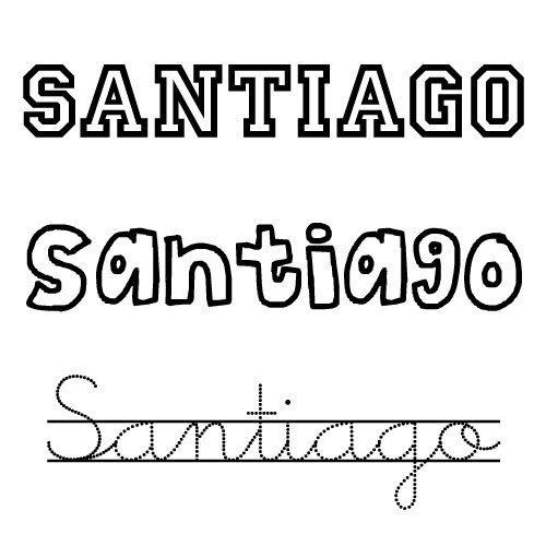 Dibujo del nombre Santiago para imprimir y pintar