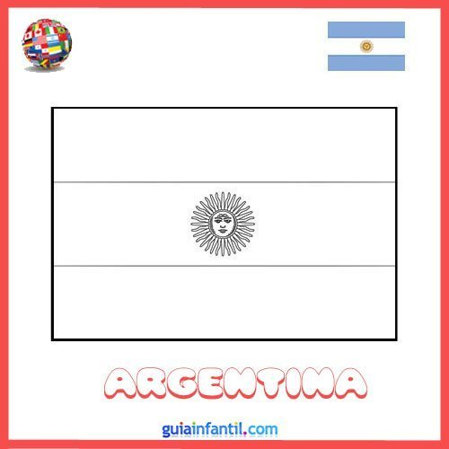 Dibujo de la bandera de Argentina para imprimir y colorear
