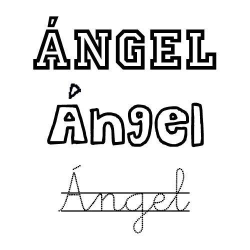 Dibujo del nombre Ángel para imprimir y pintar