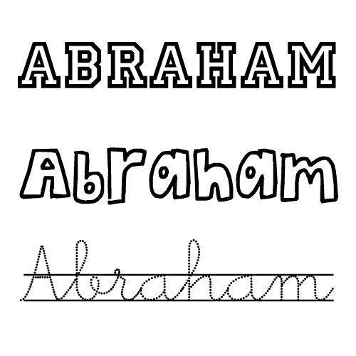 Dibujo para colorear e imprimir del nombre Abraham