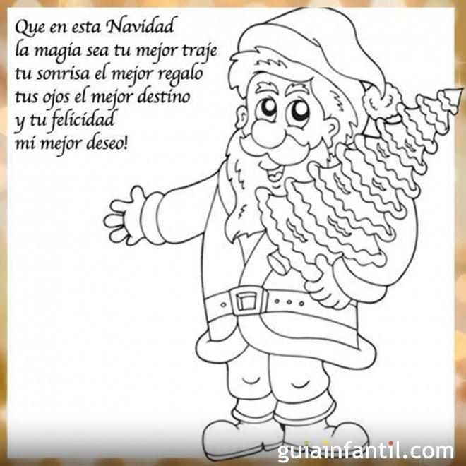 Dibujo de Papá Noel para imprimir con frase de Navidad