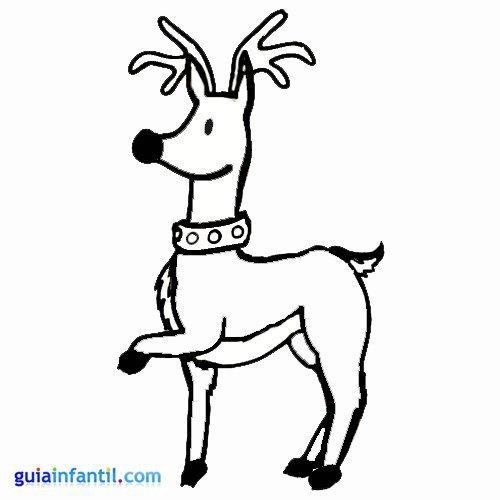 Dibujo de reno elegante para colorear