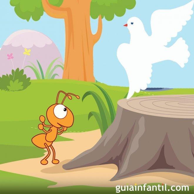La paloma y la hormiga. Fábula sobre la amistad