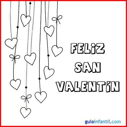 Dibujo de corazones para colorear. Tarjeta de San Valentín
