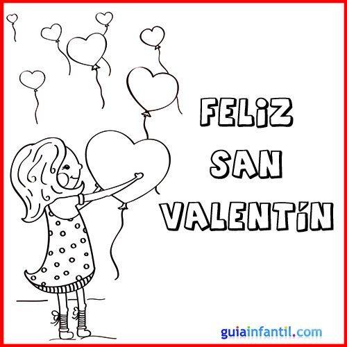 Dibujo de niña con globos. Tarjeta de San Valentín para pintar