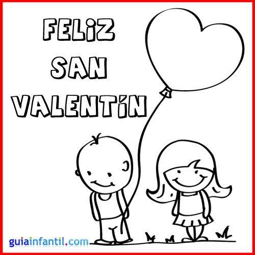 Niños enamorados. Tarjeta de San Valentón para pintar
