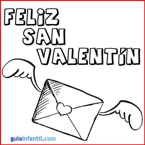 Carta de amor. Tarjeta de San Valentín para colorear