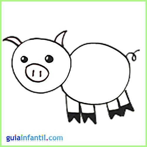 Dibujo de cerdo para pintar. Dibuja los animales de la granja