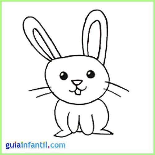 Conejo para colorear. Dibujos de animales de la granja