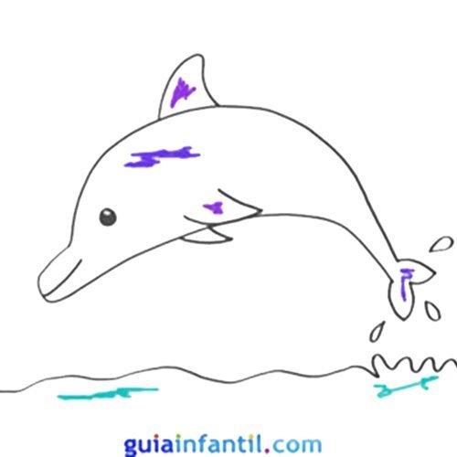 Dibujo de un delfín para niños. Animales del mar para colorear