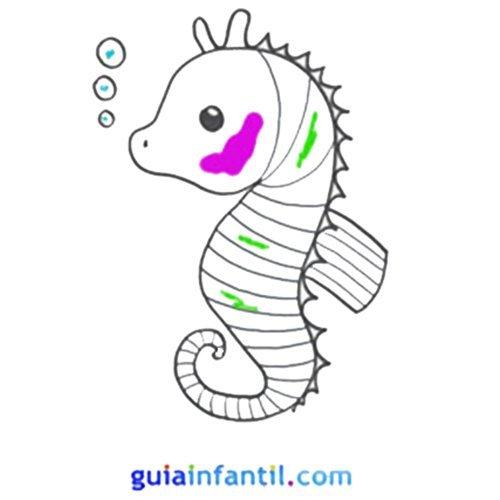 Caballito de mar para colorear con niños. Animales marinos para imprimir
