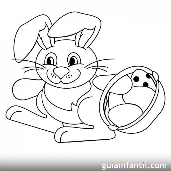 Dibujo de un conejo de Pascua con una cesta de huevos