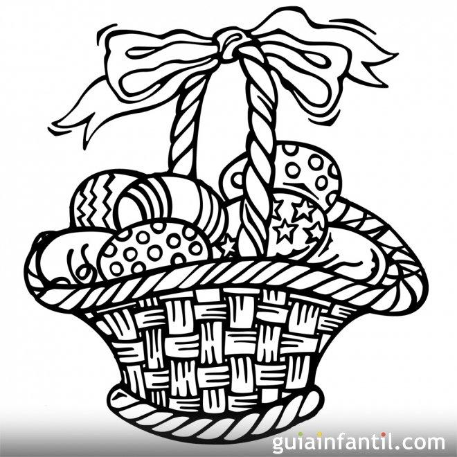 Dibujo para pintar de una cesta de huevos de Pascua