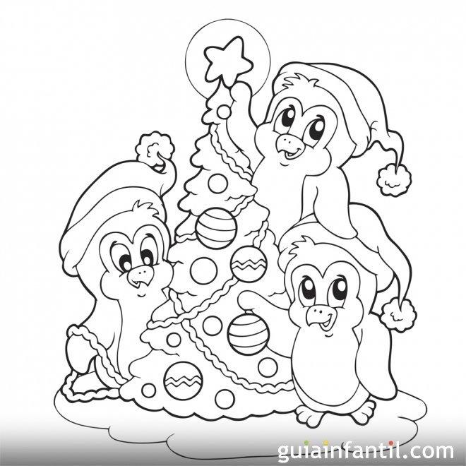 Dibujo para colorear. Árbol de Navidad con Pingüinos