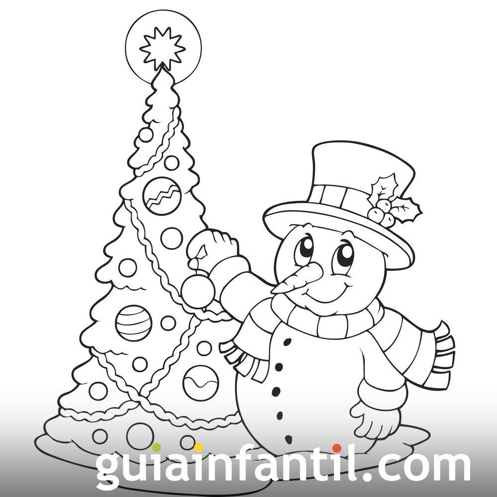 Muñeco de nieve para colorear. Dibujos para niños