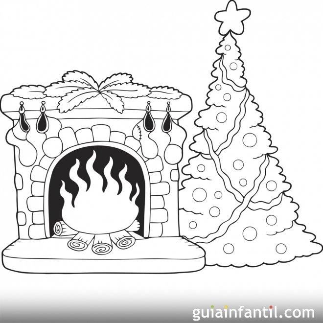 Árbol de Navidad y chimenea. Pinta y colorea