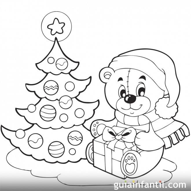 Un osito con su regalo. Árbol de Navidad para colorear