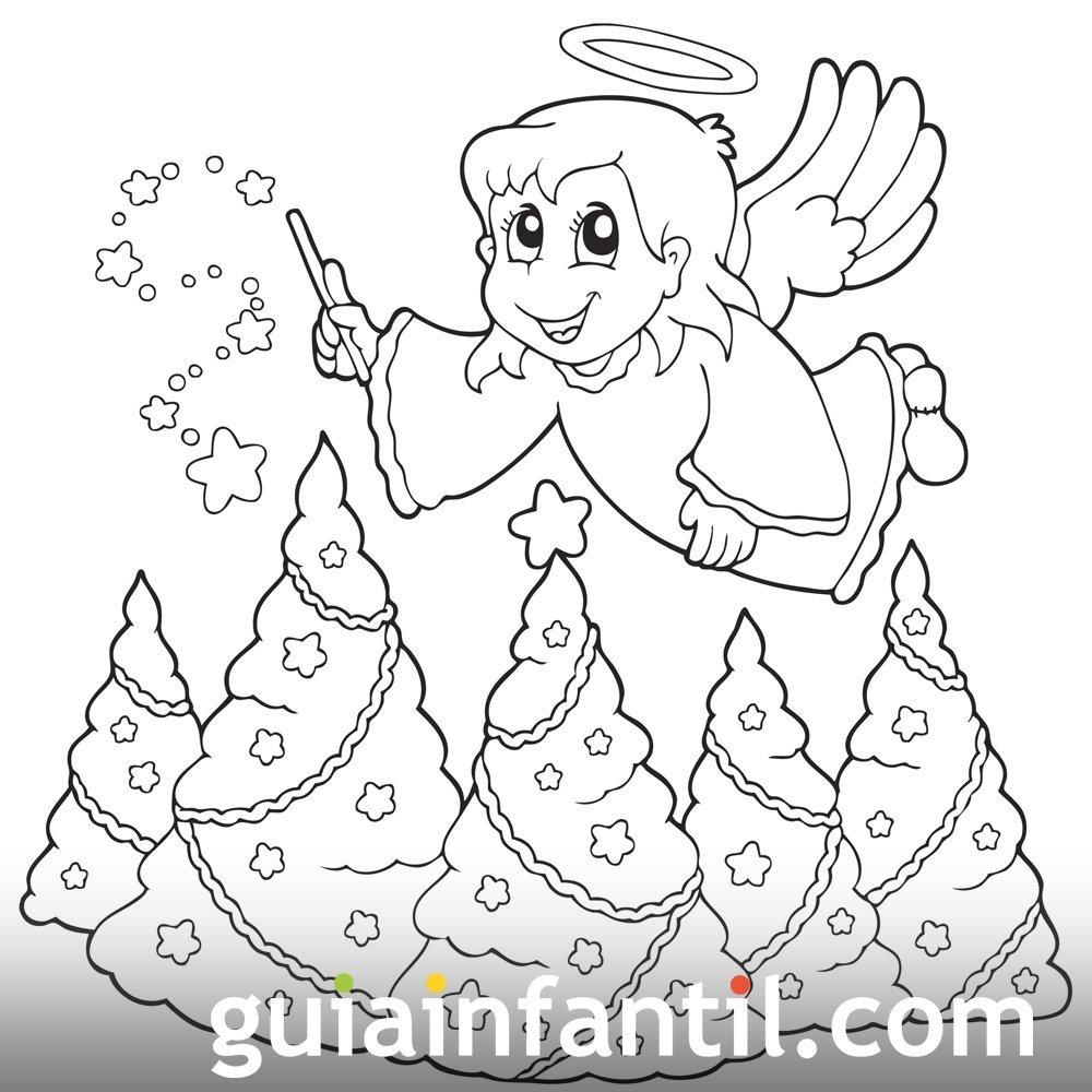 Dibujo de un ángel con árboles de Navidad. Pintar y colorear