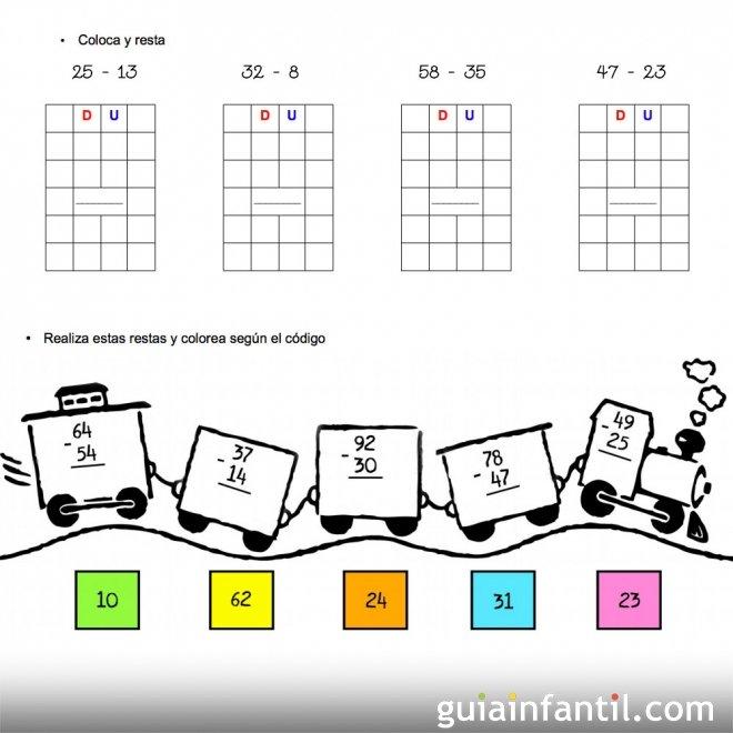 Ejercicios de matemáticas. Series de restas