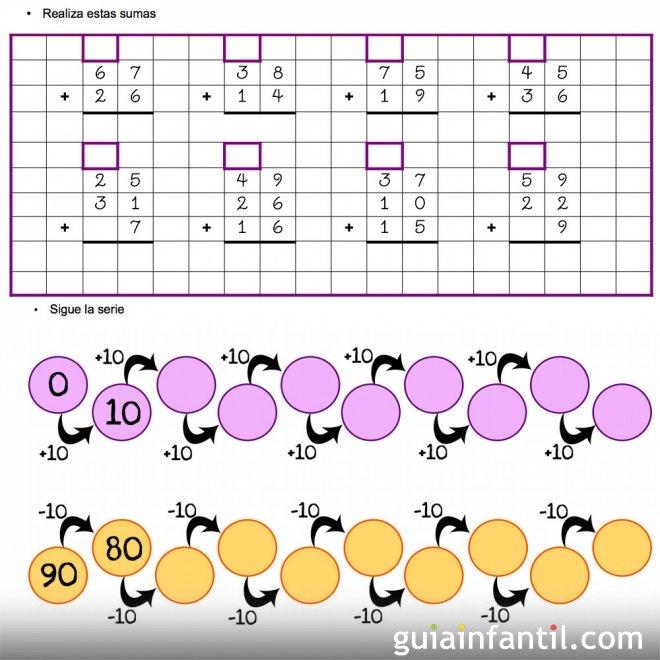 Ejercicios de matemáticas. Sumas con llevadas