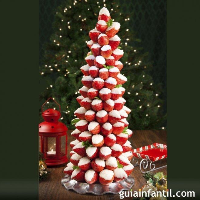 rbol de Navidad con fresas para nios