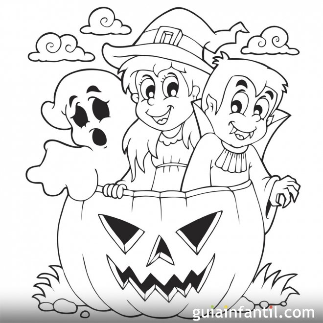 Niños celebrando Halloween. Dibujo para colorear