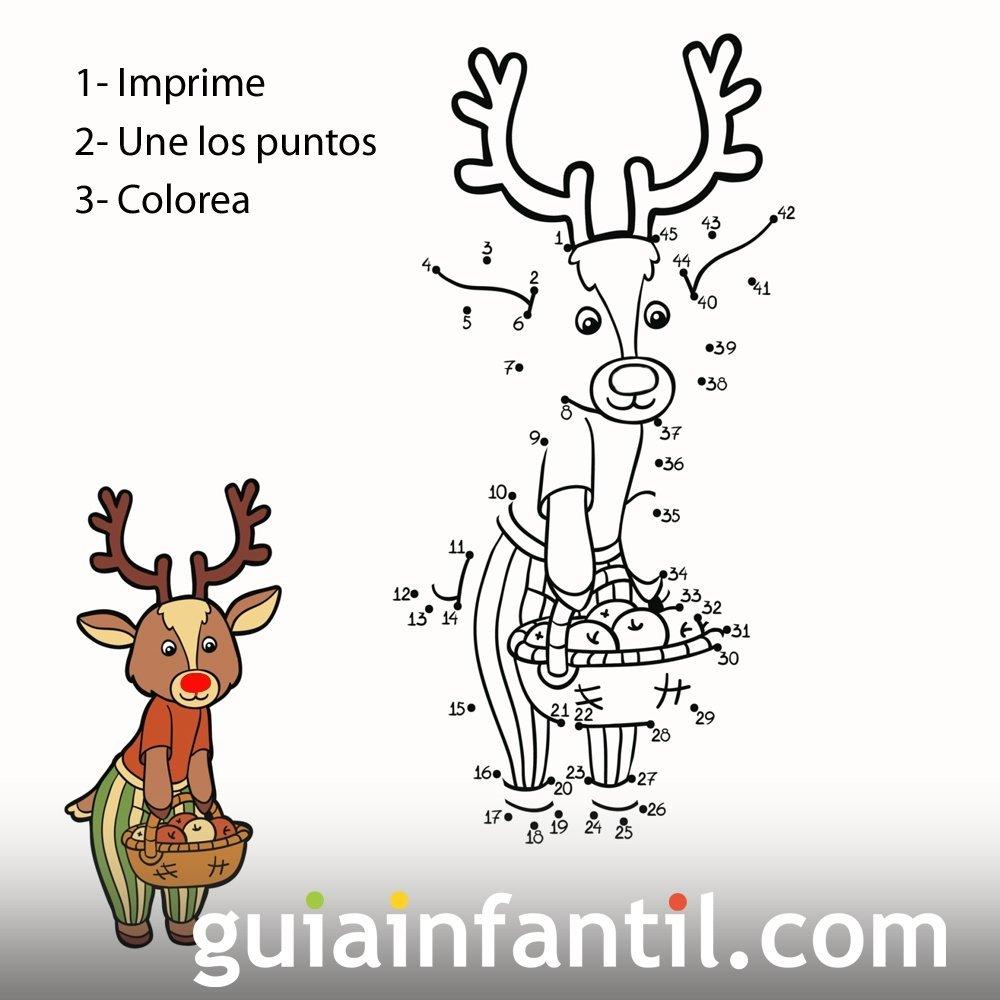 Dibujo de reno con cesta de frutas para completar