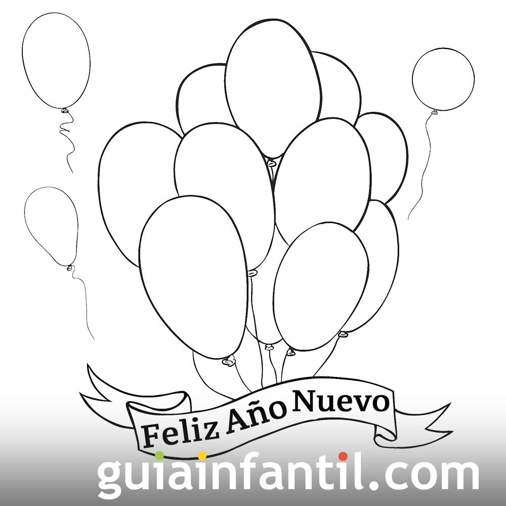 Dibujo de globos para dar la bienvenida al año nuevo