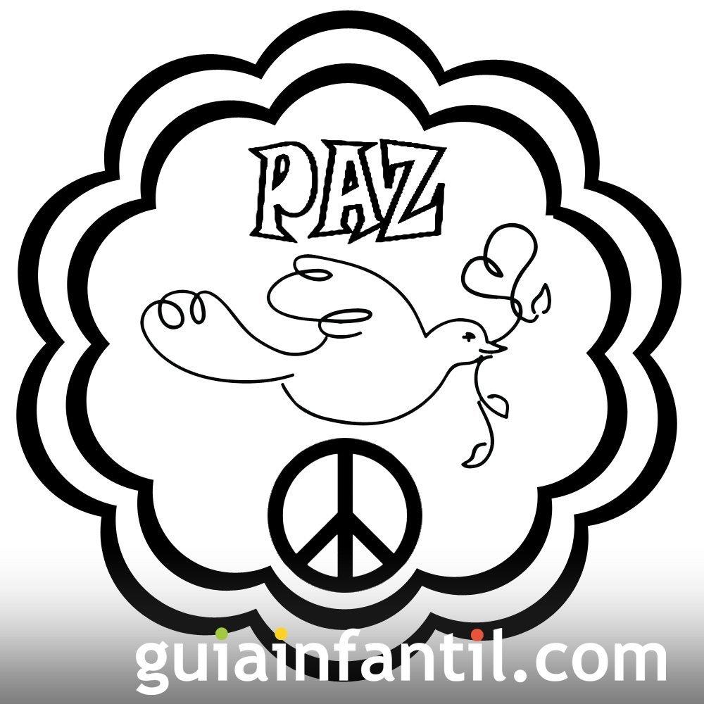Dibujo de mandala con paloma para la paz