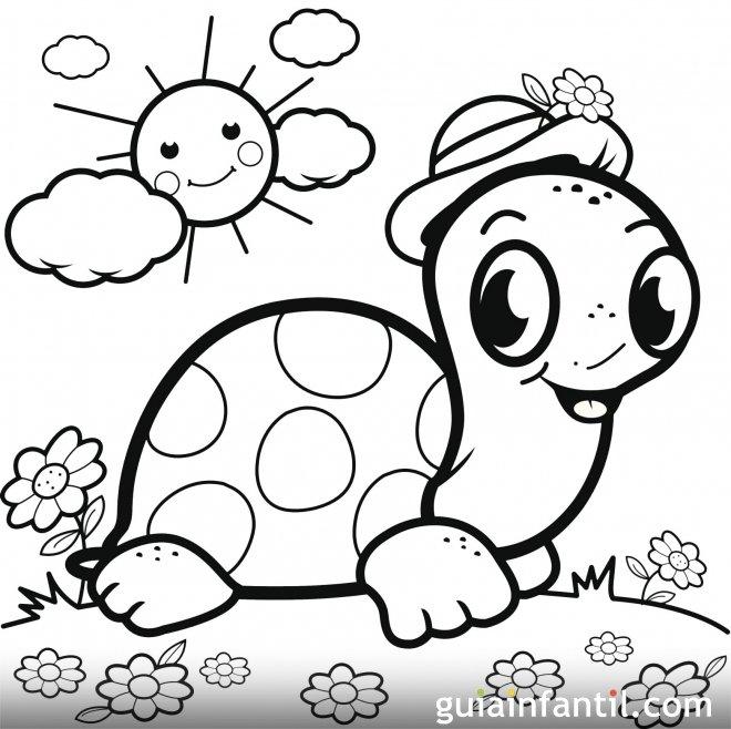 Una tortuga al sol con su sombrero. Dibujo para pintar