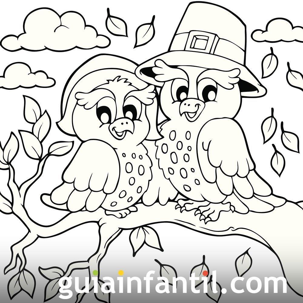 Pájaros en otoño. Dibujo para colorear
