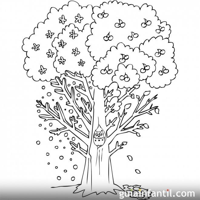 Dibujo de un árbol en otoño para colorear