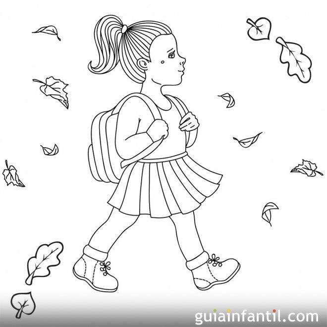 Dibujo de una niña que va al colegio en otoño